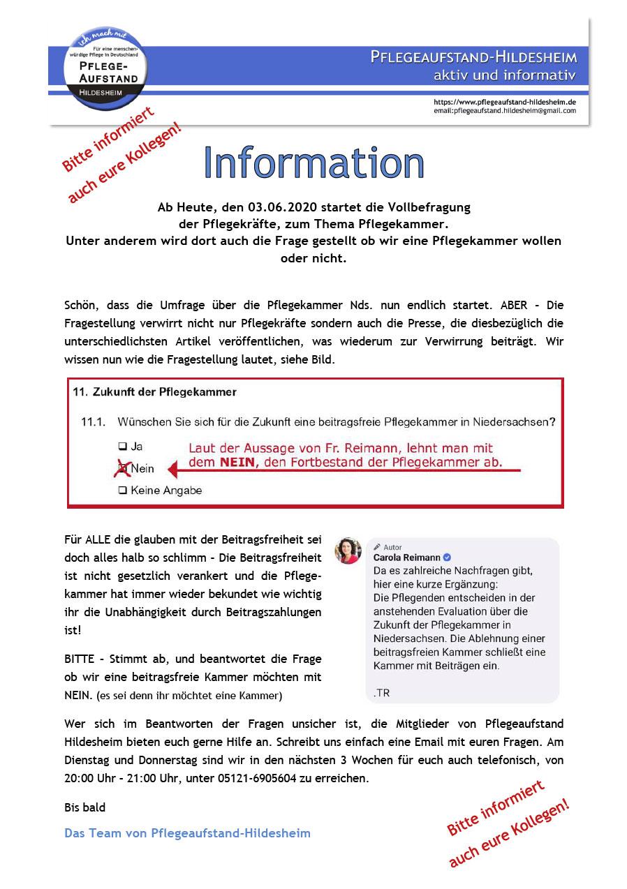 Infos/Hilfe Vollbefragung zur Pflegekammer